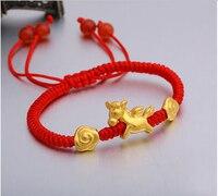 999 24k Yellow Gold Bracelet/Men Women Goat Bracelet