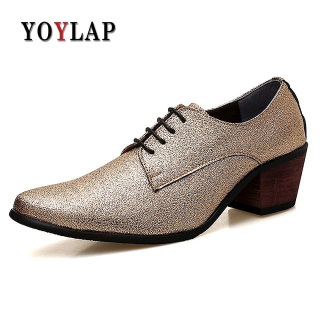 6be706d496d9 YOYLAP Brands Gold Color Pointed Toe Men Shoes 6.0 cm High Heels Dress Shoes  Elegant Party wedding Shoes Oxfords