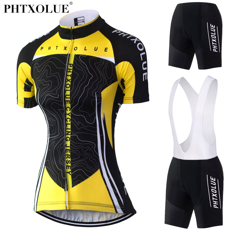 Phtxolue Cycling Clothing Women Short Set Breathable Quick Dry Bike Bicycle Clothing Wear Cycling Set Summer Cycling Jersey 2017 summer sports cycling clothes men s cycling jersey sets breathable quick dry mountain bike sports wear for spring women new