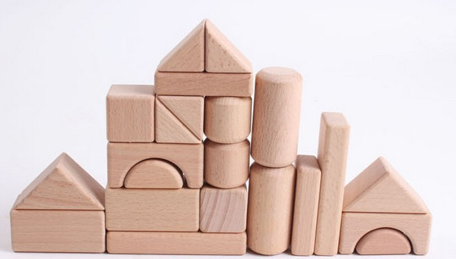 Free shipping natural wood logs building blocks geometric