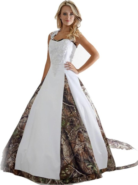 69ca1591f6a8 2017 New Sexy Wedding Dresses With Appliques Ball Gown Long Camouflage  Wedding Party Dress Bridal Gowns