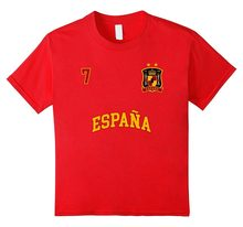 New Fashion Summer New Design Cotton Male Tee Shirt Designing Spain Shirt Number 7 Soccers Team Spanish Flag Futbol Espana Tee(China)