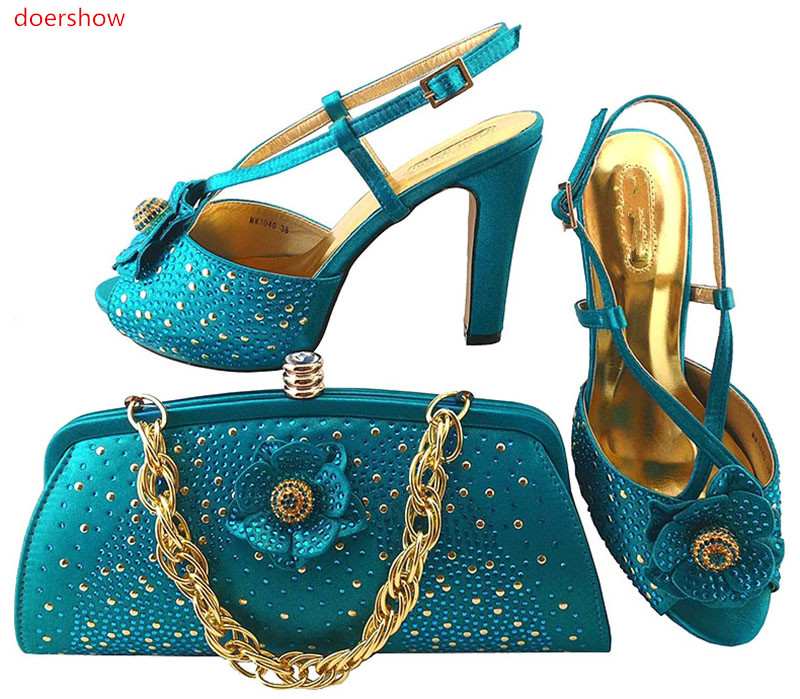 doershow New Shoe and Bag Set African Shoe and Bag Set Italian Design High Quality Matching Italian Shoes and Bag Set LULU1-24