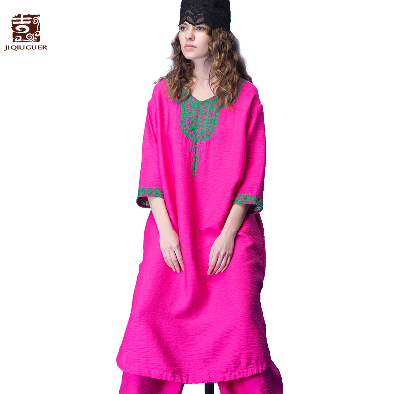 JIQIUGUER Women Vintage Embroidery Long Dress Plus Size V-neck Rose Red Loose Casual Dress 2017 New Summer G171Y006 summer embroidery ruffled round neck dress loose robe dress