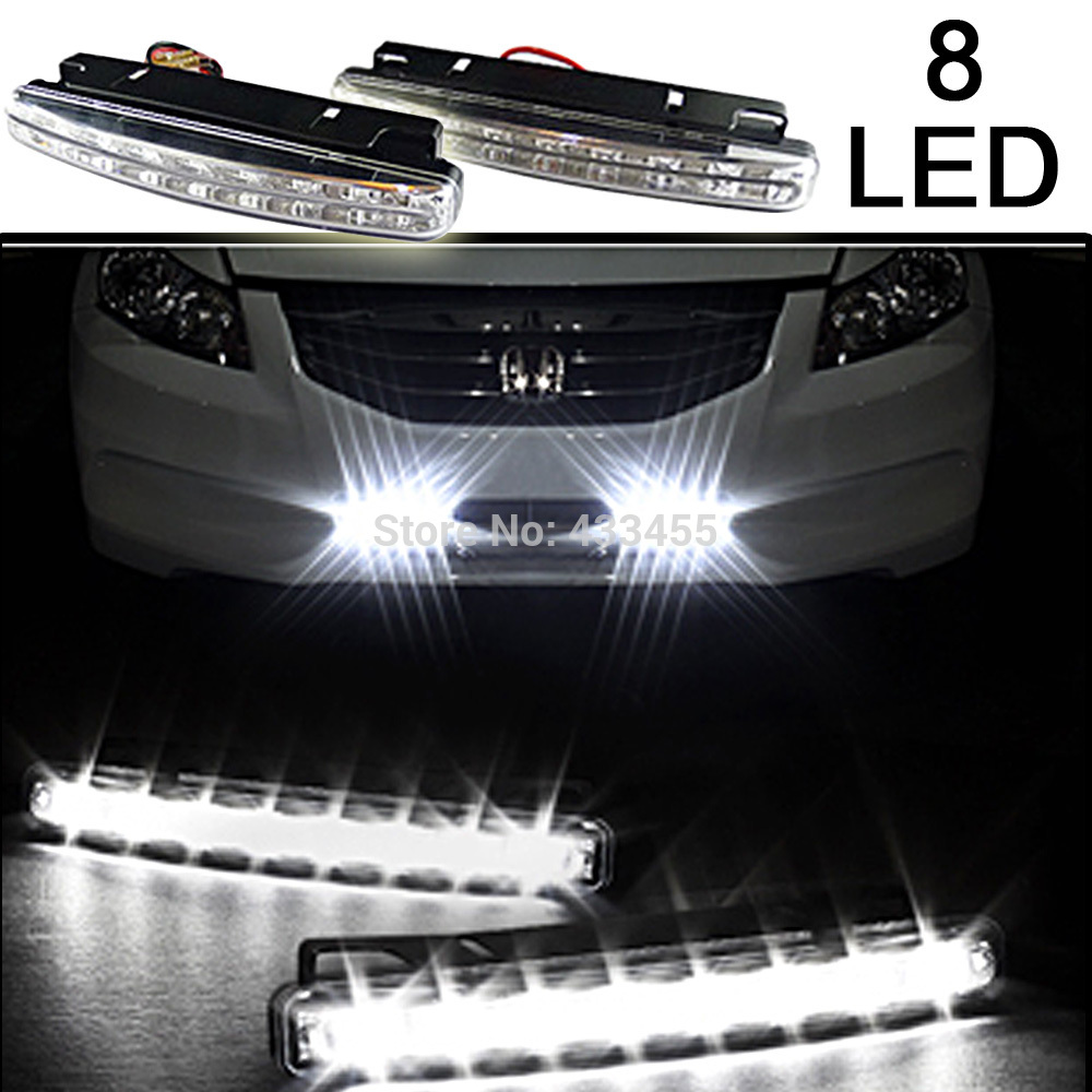 Free Shipping New 2Pcs Universal Car Daytime Running Lights 8 LED DRL Daylight Kit Super White 12V DC Head Lamp мешки для обуви transformers prime мешок для обуви увеличенный transformers prime