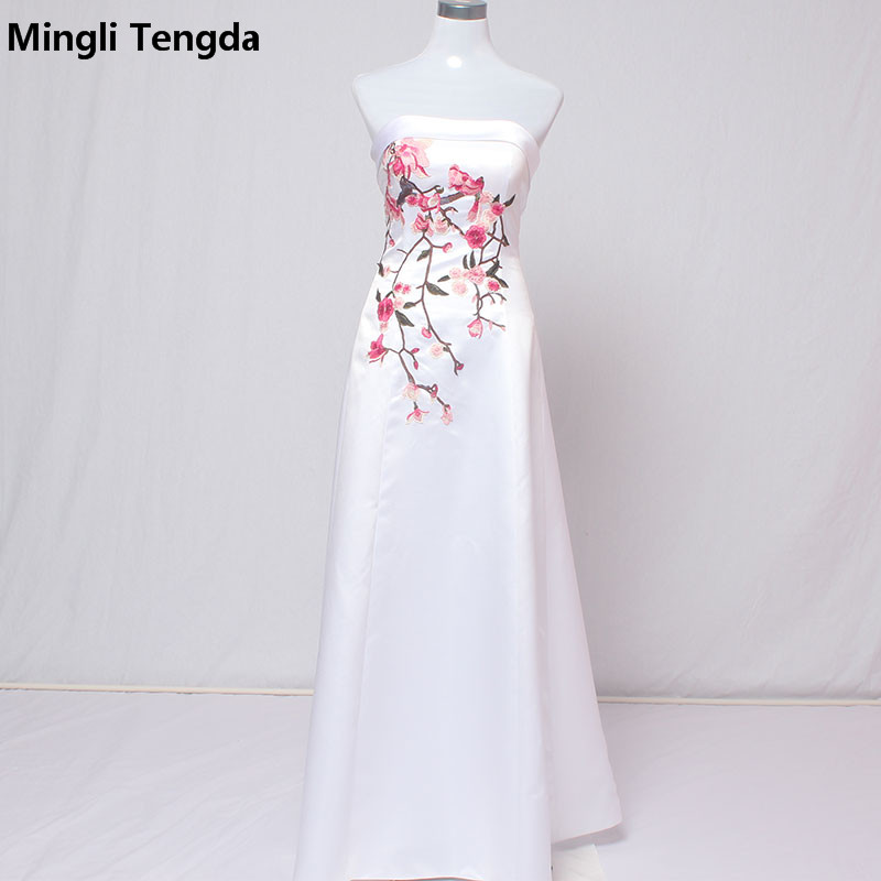 Mingli Tengda   Bridesmaid     Dresses   Long Simple   Bridesmaid     Dresses   with Embroidery Flower Fast Delivery Party   Dresses   Boat Neck New