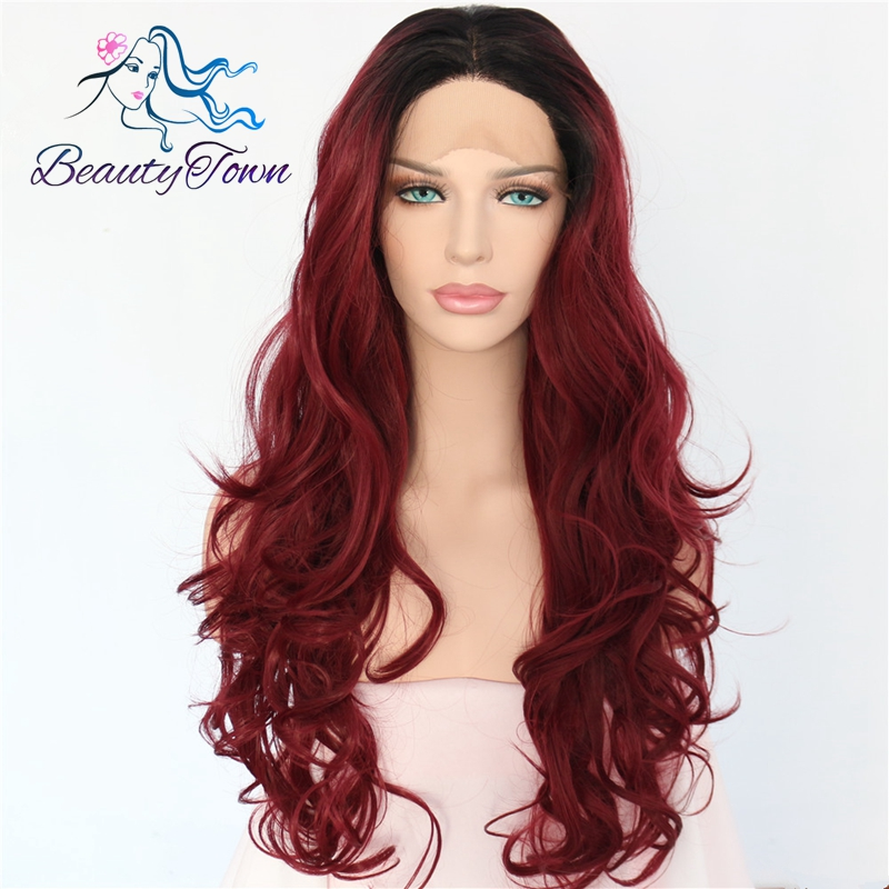 BeautyTown Ombre Black to Wine Red Hand Tied Heat Resistant Fiber Hair Wigs Body Wave Style