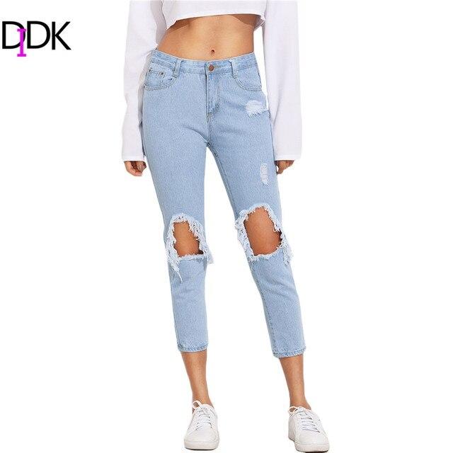 DIDK Ladies Boyfriend Denim Jeans Women Autumn Trousers 2016 Casual Blue Mid Waist Button Fly Ripped Skinny Pants