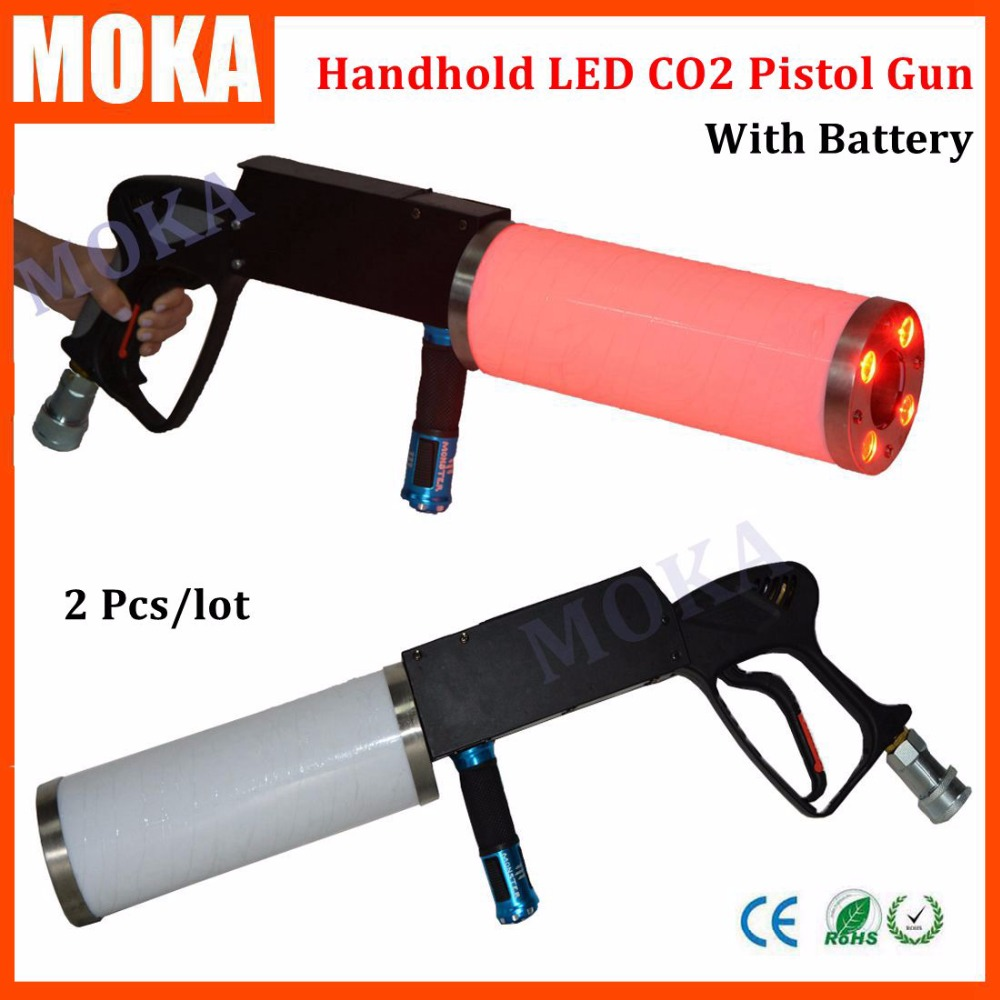 2 Pcs/lot new arrival LED co2 gun handhold co2 dj pistol gun LED RGB with battery flash light for Party dj KTV Stage Effects 2016 new co2 jet machine moka mini co2 pistol handhold co2 gun fx stage effect machine for dj club with 3m hose