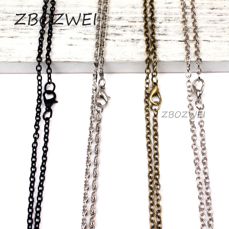 ZBOZWEI  10pcs/lot Width 1mm Cut Rolo Link Chain Black/Silver/Bronze  Color Chains Necklaces For Women/Men Accessories