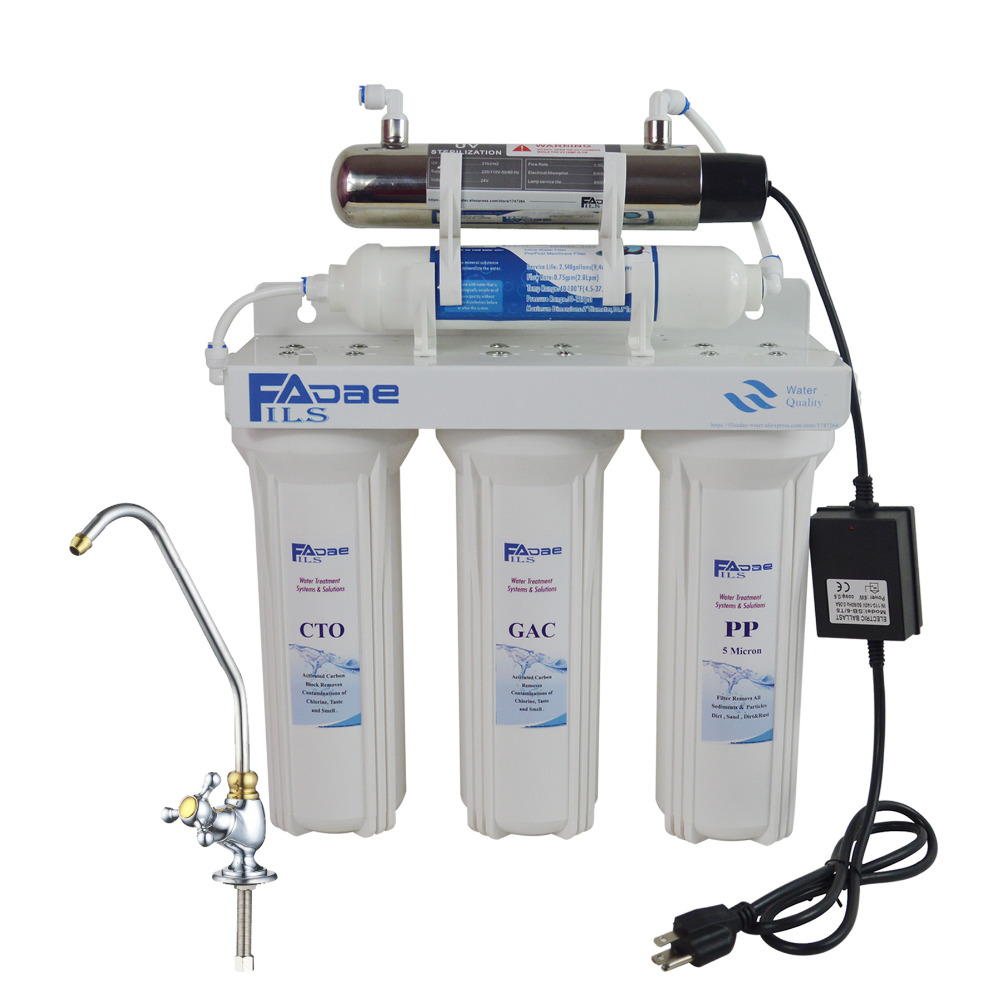 Home Use Five Stage Undersink Drinking Water Filtration System with UV Sterlizer, Power:110 - 140V ,America standard plug land use information system