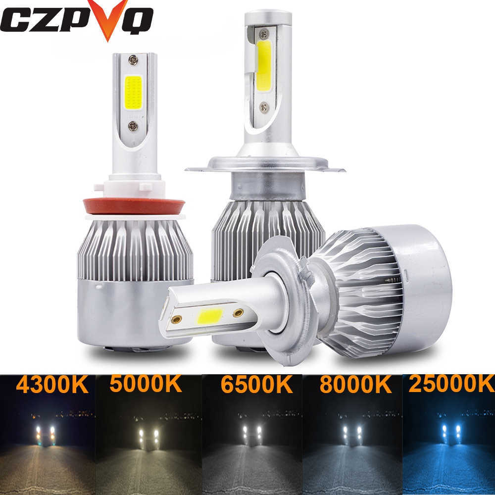 CZPVQ 2 Pcs C6 H4 H7 LED H1 H11 4300K 5000K 6500K 8000K 25000K Car Headlight H3 H8 H9 9005 9006 880 881 Fog Light LED Bulb 12V