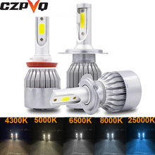 CZPVQ 2 Pcs C6 H4 H7 LED H1 H11 4300K 5000K 6500K 8000K 25000K Car Headlight H3 H8 H9 9005 9006 880 881 Fog Light Bulb 12V