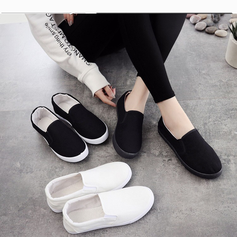 Beijing Casual Canvas Women Shoes 2019 Vulcanized Sneakers Walking Breathable Flat Slip-on Fashion Soft Ladies