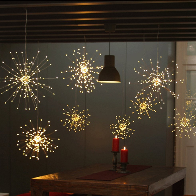 Batería colgando de un estallido de Strig luces 200 Leds DIY cobre fuegos artificiales de guirnalda de fiesta de Navidad luces