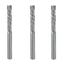 3pc 4x22mm para cima baixo cortar duas flautas espiral carboneto moinho cortador de ferramenta para cnc roteador, compressão de madeira end mill cortador bit