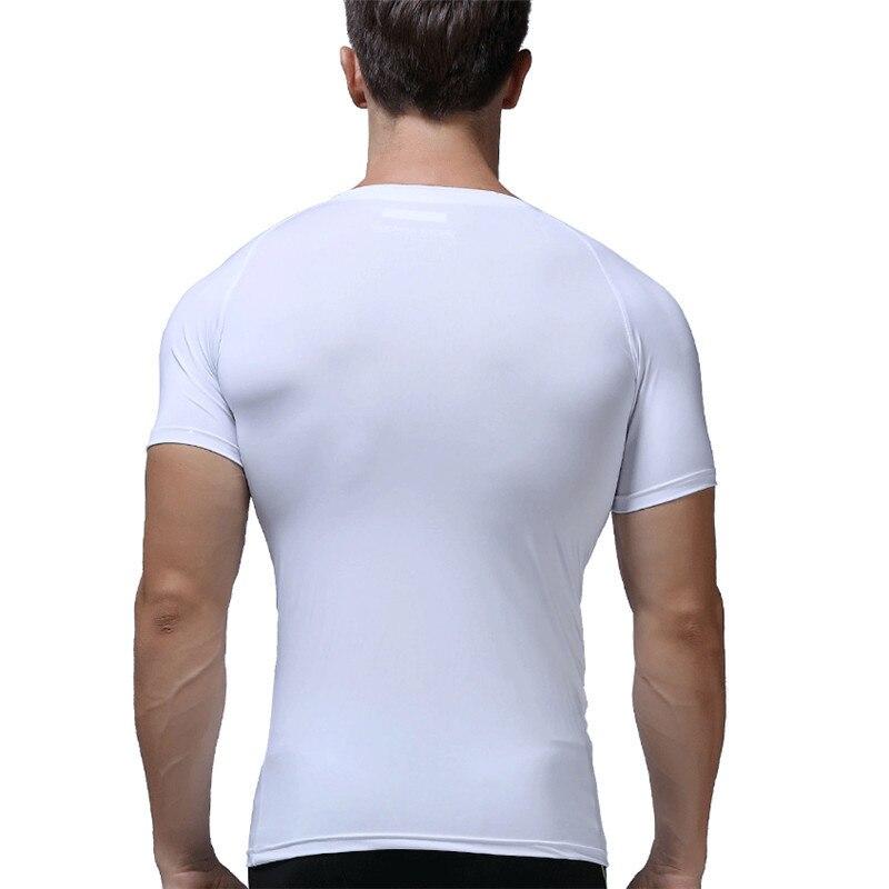 Бег футболка Для мужчин быстросохнущая дышащая короткий рукав Фитнес Топы корректирующие Лето Открытый Спорт плотно Футболки для девочек ...