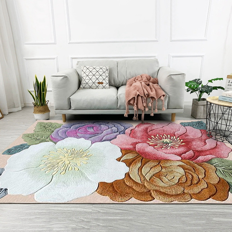 Colorful 3D Flowers Printed Living Room Large Area Rugs Sofa Coffee Table Balcony Floor Mat Bedroom Bedside Non-Slip Carpets