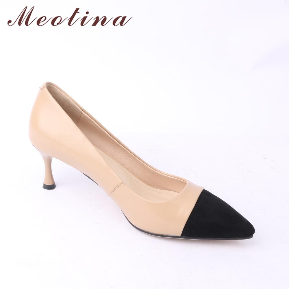 Meotina ของแท้หนังผู้หญิงปั๊มรองเท้าส้นสูงสำนักงาน Lady รองเท้า Pointed Toe Kitten ส้นรองเท้า 2018 รองเท้าใหม่ขนาดใหญ่ขนาด 40-ใน รองเท้าส้นสูงสตรี จาก รองเท้า บน   2