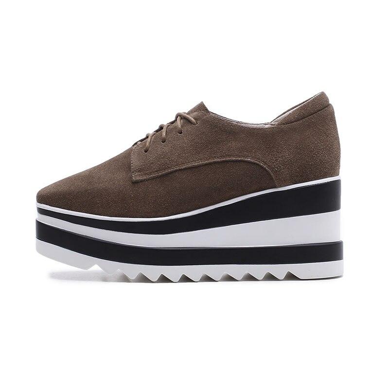 Brown Plate Dames Printemps Carré Chaussures Casual forme noir Femmes Vache Suede Wetkiss Lacets Mode Sneaker Appartements Bout Nouveau 2019 SxTBwOqg