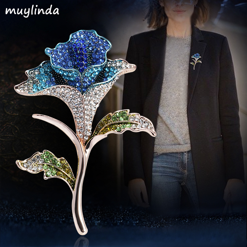 Girls Colorful Rose Flower Rhinestone Brooches Women Fashion Costume Brooch Pin Jewelry Clothes Accessories Jewelry