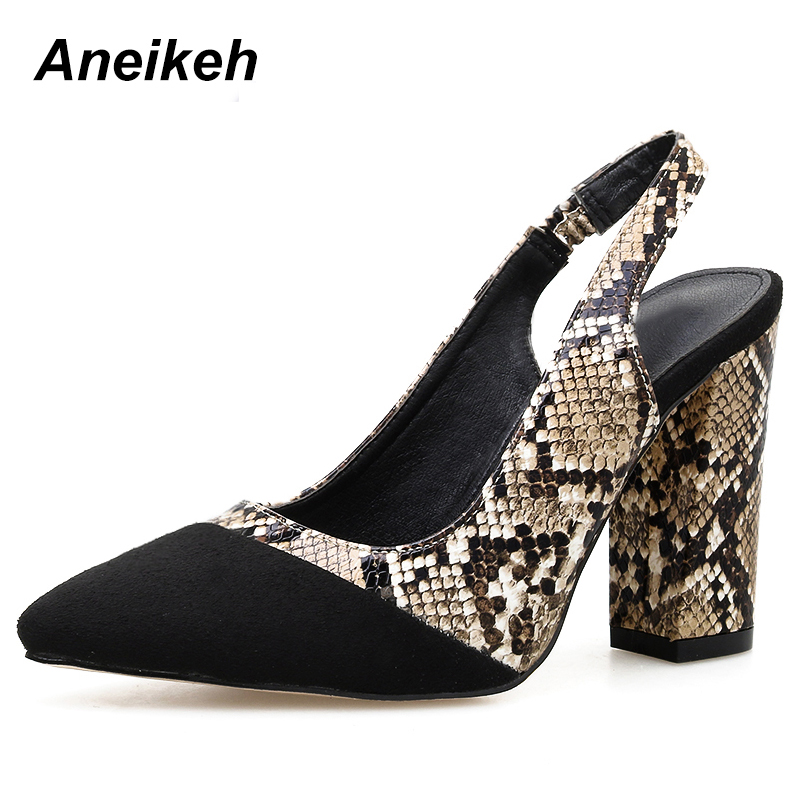 Aneikeh 2019 Novelty Flock Pumps Spring Autumn Women Shoes Buckle Pointed Toe Square High Heel Shallow Serpentine Black 35-40Aneikeh 2019 Novelty Flock Pumps Spring Autumn Women Shoes Buckle Pointed Toe Square High Heel Shallow Serpentine Black 35-40