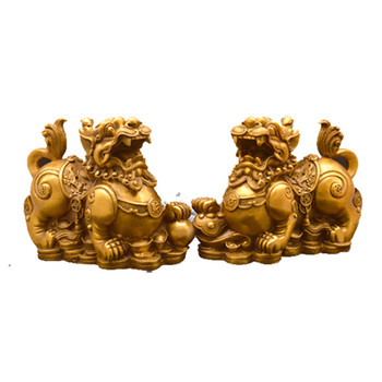 Feng Shui Chinese Copper Dragon Chilin Dragon Unicorn Kylin Pi Xiu Kirin Statue Couple  Home Decoration