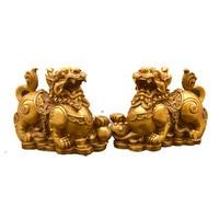 Feng Shui Chinese Copper Dragon Chilin Dragon Unicorn Kylin Pi Xiu Kirin Statue Couple Home Decoration
