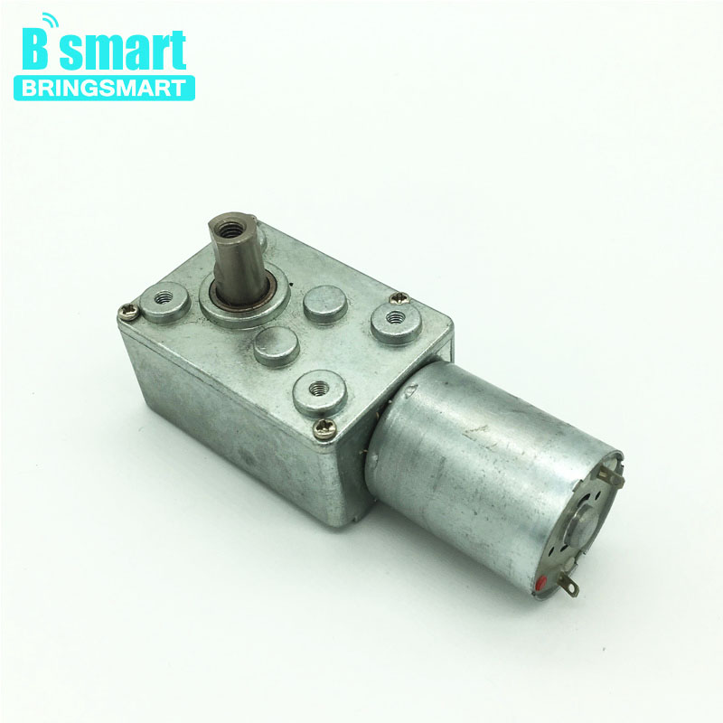 Bringsmart DC Worm Geared Motor 2rpm 6V 12V Self-locking Mini DC Reduction Gearbox Motor 1rpm 24V Reversed High Torque Motor bringsmart worm gear motor high torque 70kg cm 12v dc motor mini gearbox 24v motor reversed self lock engine diy parts a58sw31zy