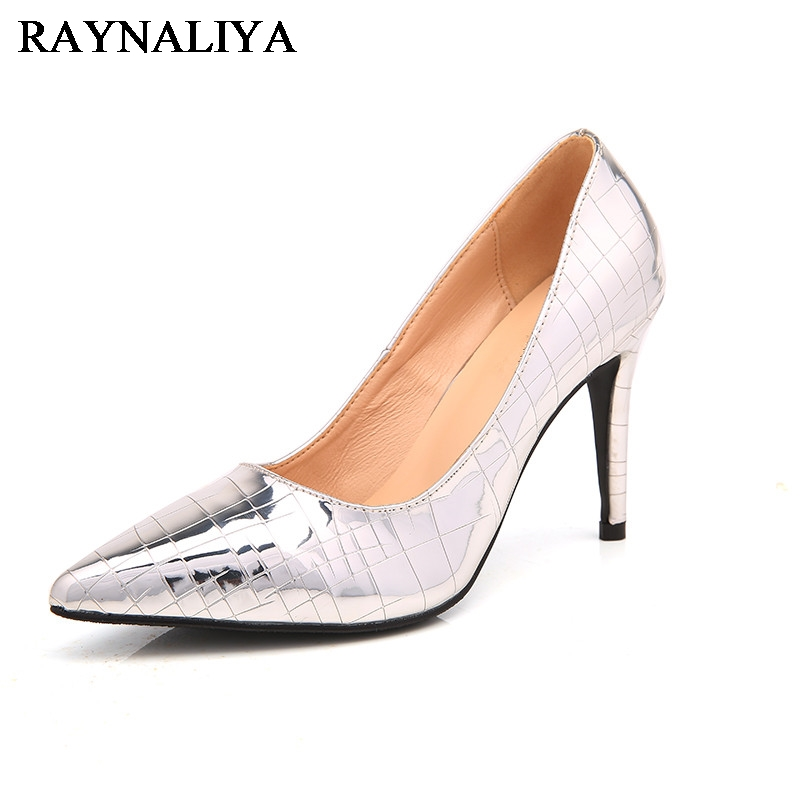 High Quality Women Pumps Beautiful Pointed Toe Thin Heels Pumps Nice Silver Shoes Woman Plus Size 33-43 BLY-B0021 comfy women pointed toe square high heels office shoes woman flock ladies pumps plus size 34 40 black grey high quality