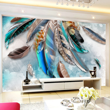 3D Wallpaper Stereo Colorful Plume For Modern Wall Abstract Art
