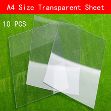 10 PCS A4 size 210mm*297mm*0.3mm PVC transparent Sheet Plastic Clear thin plate
