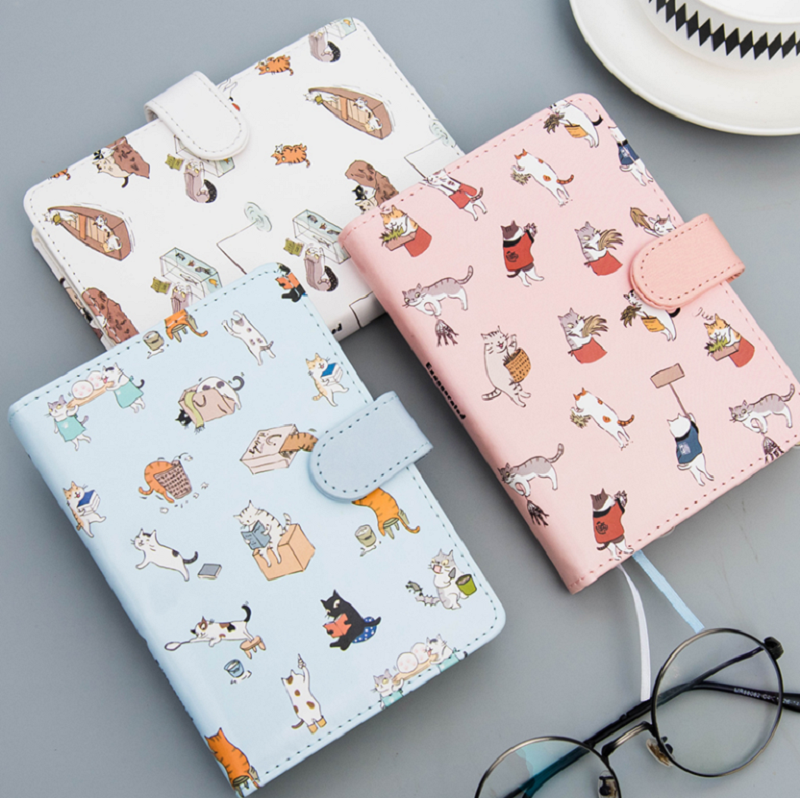 Cute cat leather notebook cute kawaii notepad agenda 2018 daily planner Creative office school stationery supplies gift for girl 1pc small fresh flower notepad notebook diary notebook korea creative stationery upscale gift cute school supplies