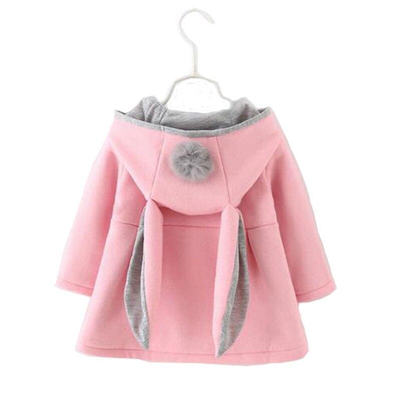 2017 весной девочка детская одежда наряд случайный спорт куртка с капюшоном пальто одежда для новорожденных девочек бренд уха кролика верхняя одежда пальто
