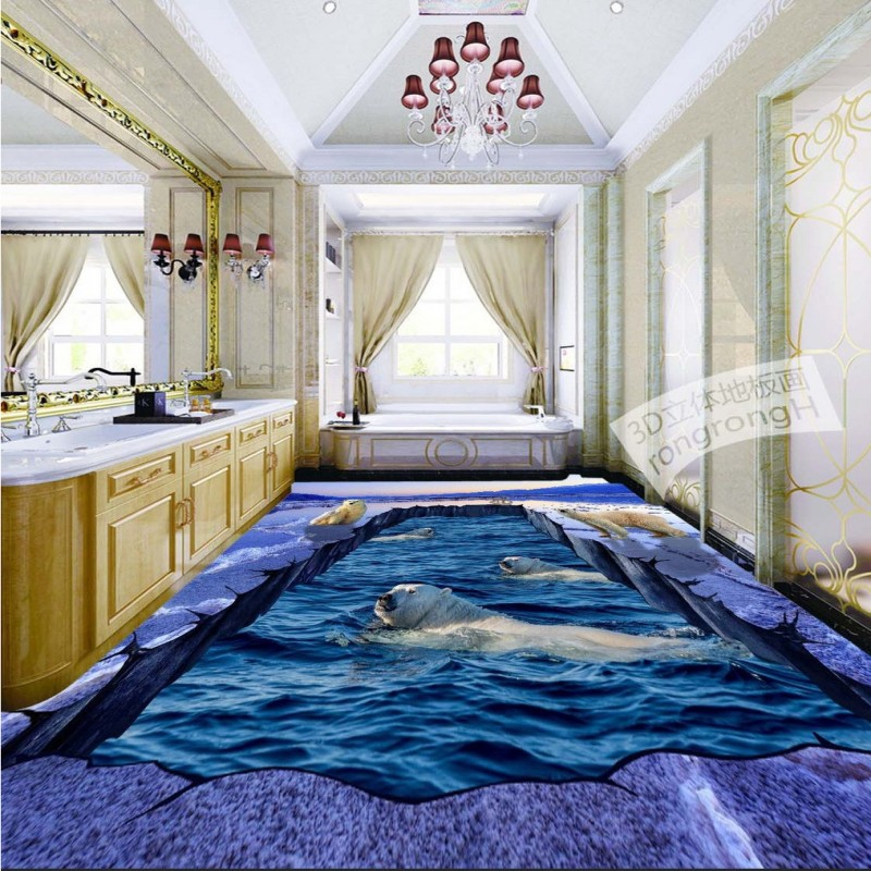 Free Shipping 3D polar bear ice cracked floor painting wear non-slip anti-skidding living room bedroom bathroom flooring mural free shipping floating suspension mountain dolphin 3d outdoor floor painting wear non slip bedroom bathroom flooring mural