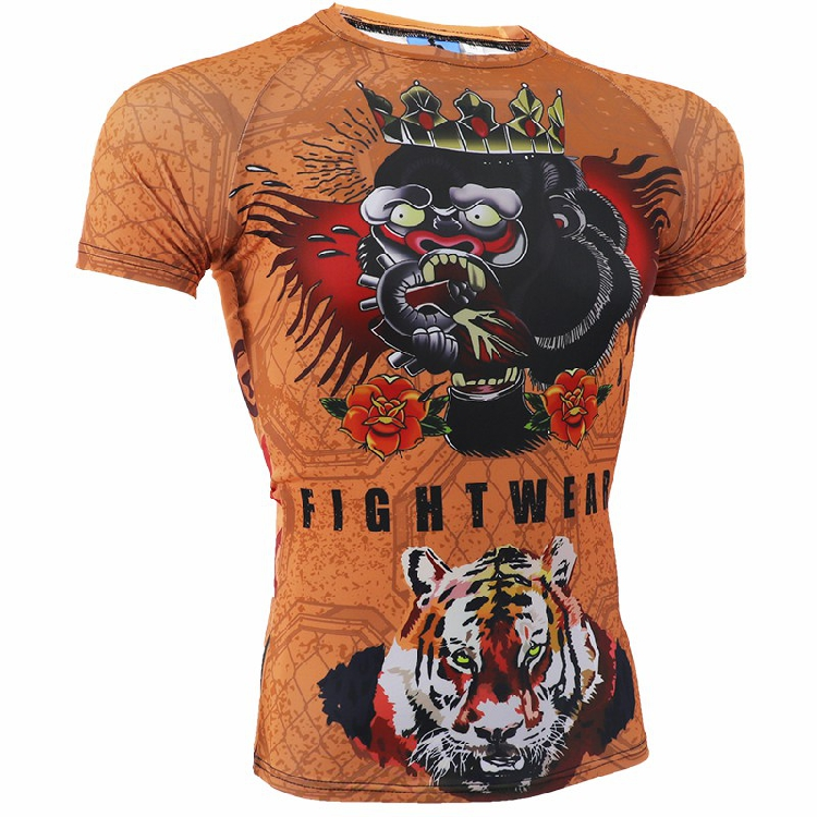 MMA Combat sports short sleeve T shirt soft monkey ROLLHO sanda martial arts wind Thai boxing