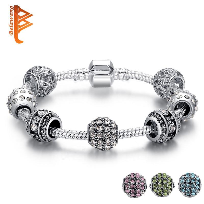 BELAWANG Moda Mulheres Pulseira Pandora de Cor Prata Pulseiras de Cristal Do Grânulo Charm Bracelet Para As Mulheres Jóias de Natal Original Do Presente
