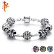 3bc6ff5da094 BELAWANG moda mujeres pulsera Pandora plata Color cristal pulsera encanto  pulsera para las mujeres joyería de la Navidad regalo .