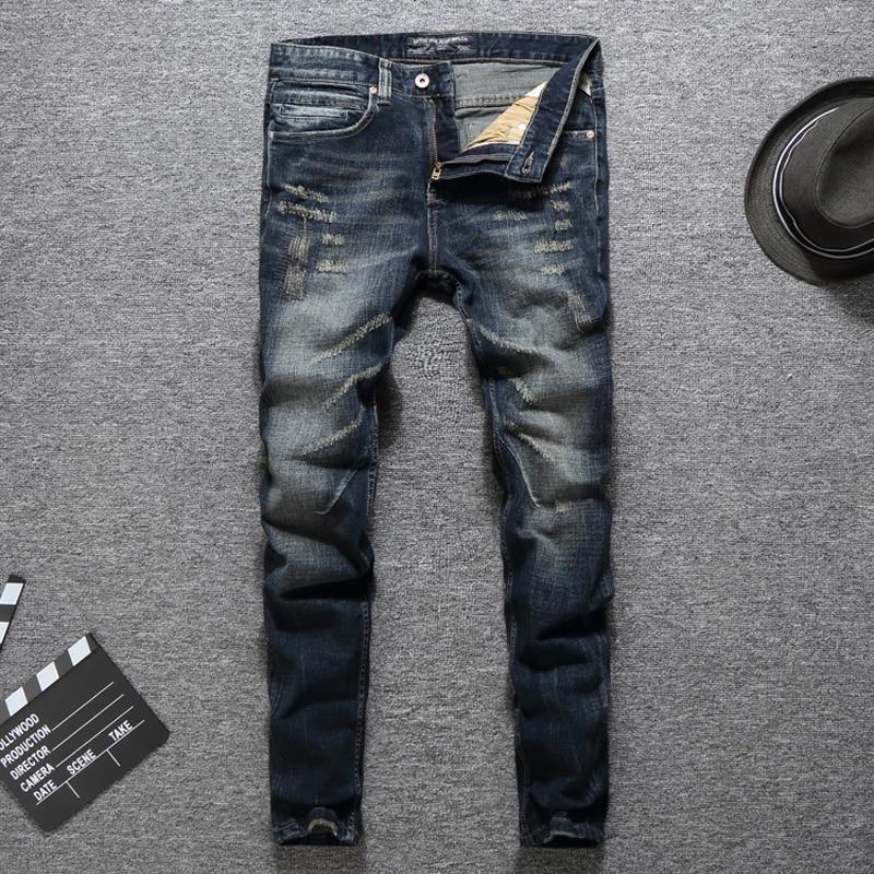 High Quality Fashion Men Jeans Slim Fit Cotton Denim Casual Pants Vintage Designer Ripped Jeans Brand Classical Jeans Men