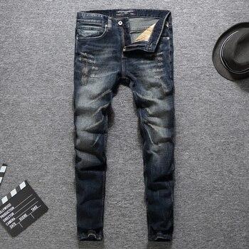 High Quality Fashion Men Jeans Slim Fit Cotton Denim Casual Pants Vintage Designer Ripped Jeans Brand Classical Jeans Men envmenst brand high quality men s jeans hole casual ripped jeans men hiphop pants straight jeans for men denim trousers