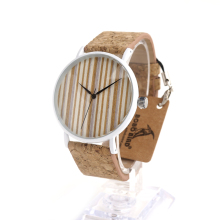 BOBO BIRD E17 Mens Womens Bamboo Wooden Watch Dial Stainless Steel Case With Cork Leather BandThickness 10mm