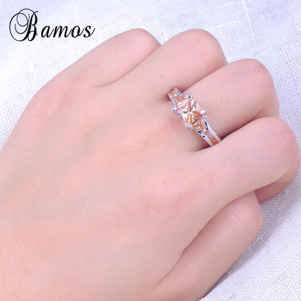 Women Men Champagne AAA Zircon Stone Finger Ring White Gold Filled ...