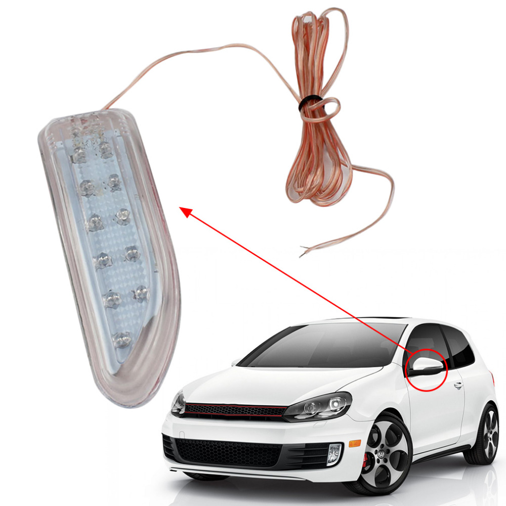 NEWEST Universal Car 2 Pcs Best Blade Shape Auto Rearview Side Mirror Turn Signal LED Lights Light Yellow Vehicle Parts Accessor  цены