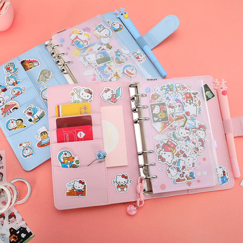 Pink Girl Heart Cartoon Cute Loose-leaf Manual Book Set Xiao Qingxin Travel Diary Notebook