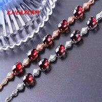 KJJEAXCMY 925 Sterling Silver Jewelry Crystal Hand Natural Garnet Crystal Bracelet Silver Female Natural Crystal Bracelet