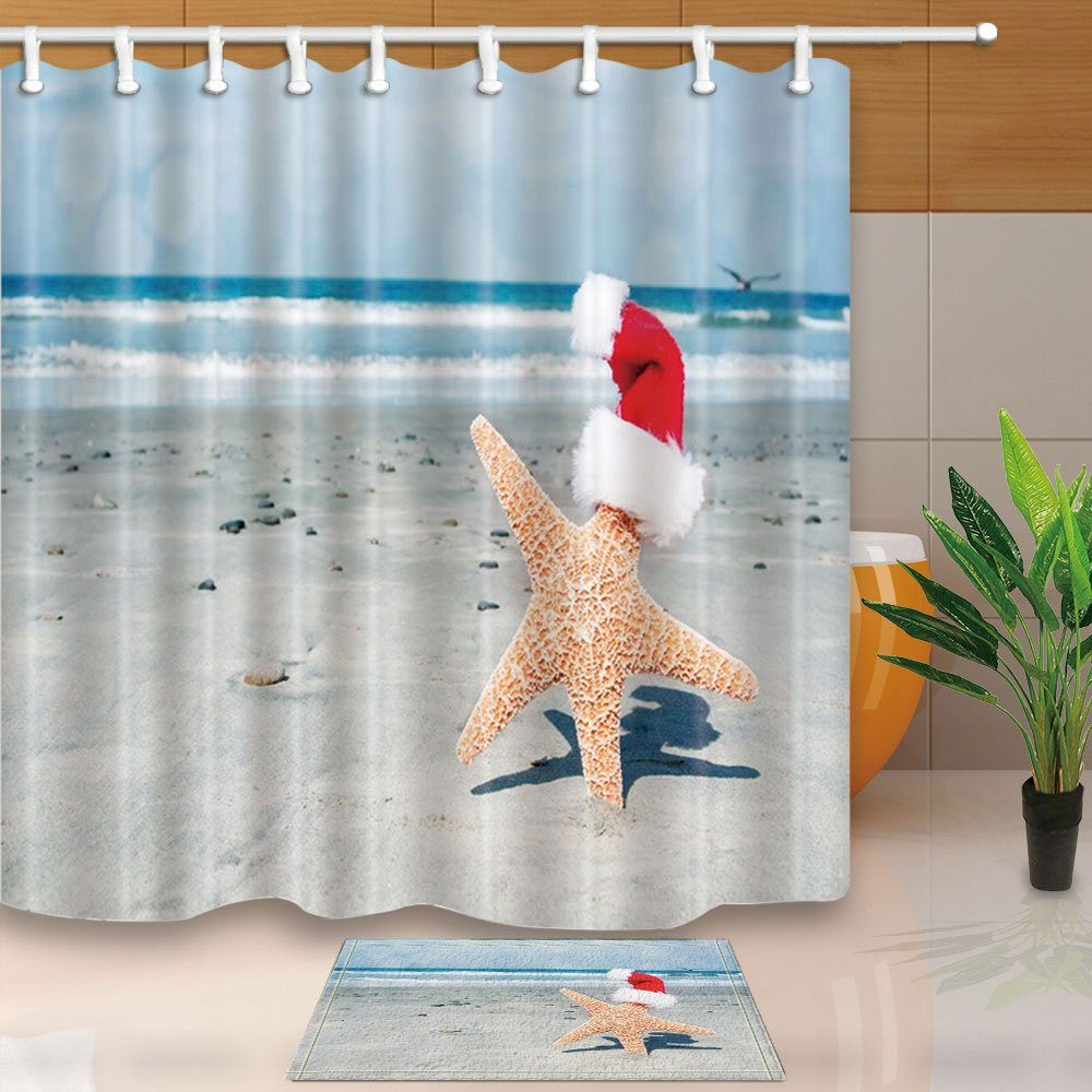 Us 12 79 46 Off Oceanic Shower Curtains Starfish With Christmas Hat At Beach Waterproof Polyester Fabric Curtain Set Doormat Bath Rugs In