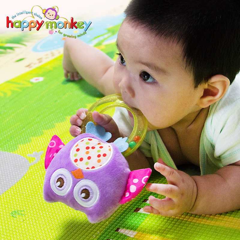 Happy Monkey Lovely Plush Stuffed Soft Baby Rattles Hand Bells Newborn Infant Gift Beep Toys For Children Bead Baby 0-12 Months