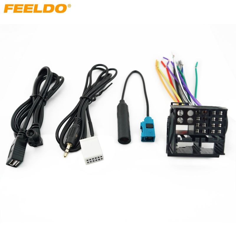 FEELDO Car Stereo Head Unit Wiring Harness With FRAKA Radio Anatenn Jack USB/AUX Cable For Volkswagen Factory OEM Radio CD #3112