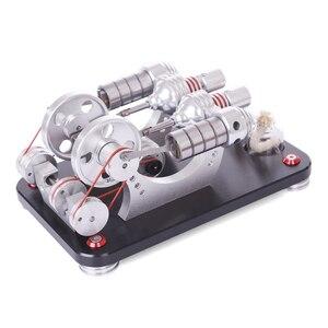 NFSTRIKE Kinder Modell Gebäude Kits Metall 2-zylinder Parallel Bootfähigen Stirling Motor Micro Externe Verbrennung Motor Modell Neue