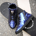 AD AcolorDay Spring Autumn Metal Ankle Boots Men Lace Up Patent Leather Blue Fashion Boots High Top Luxury Brand Man Footwear